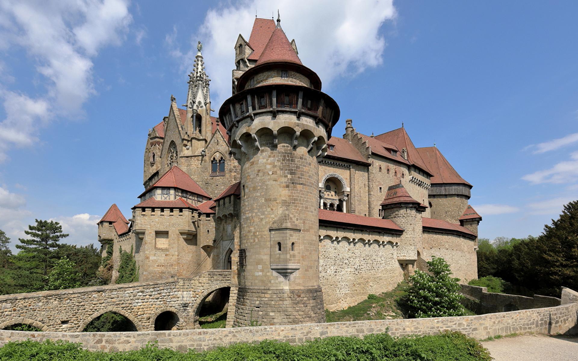 Achtergrond Oostenrijk Een toren Kreuzenstein Castle, Lower Austria, Korneuburg Burcht Steden 1920x1200 een stad