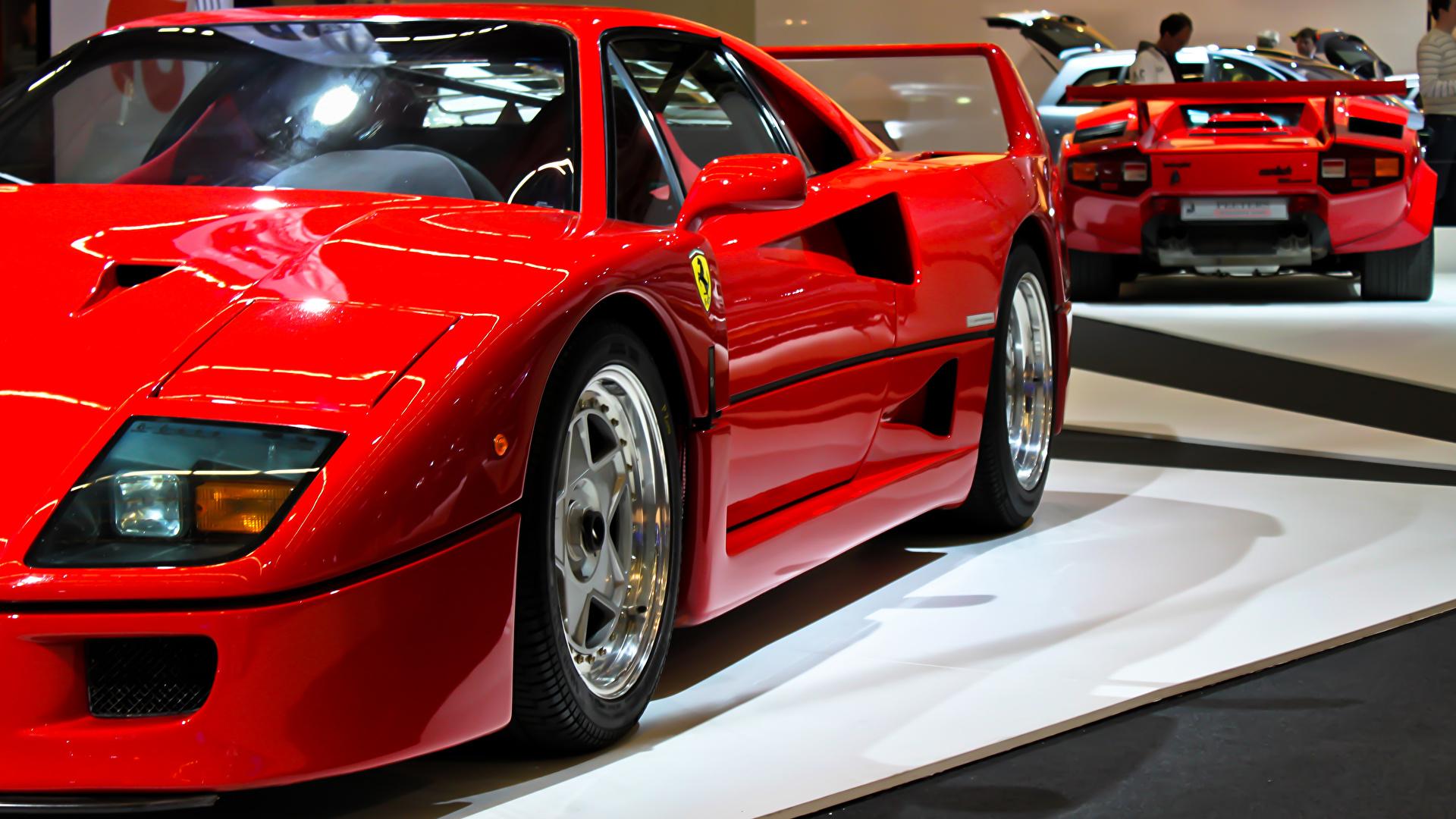Desktop Hintergrundbilder Ferrari F40 Rot Autos 1920x1080