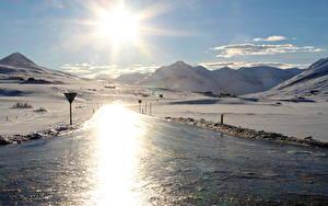 Fotos Island Landschaftsfotografie Gebirge Sonne Schnee Eis