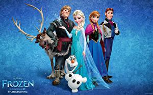 Papéis de parede Disney Homem Cervídeos Frozen filme de 2013 Bonecos de neve Corno Meninas 3D_Gráfica