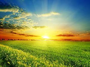 Hintergrundbilder Landschaftsfotografie Acker Sonnenaufgänge und Sonnenuntergänge Himmel Wolke Sonne