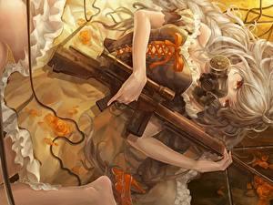 Fonds d'écran Fusil d'assaut Blondeur Fille Masque à gaz Les robes Piyotama Anime Filles