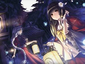 Fonds d'écran Touhou Collection Les robes Deux Houraisan Kaguya, Yagokoro Eirin Anime Filles