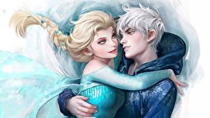Bilder Disney Die Eiskönigin – Völlig unverfroren Umarmt 2 Zopf Kerl Zeichentrickfilm Mädchens