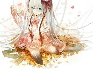 Fonds d'écran Vocaloid Hatsune Miku Noeud de ruban Feuille Les robes Anime Filles