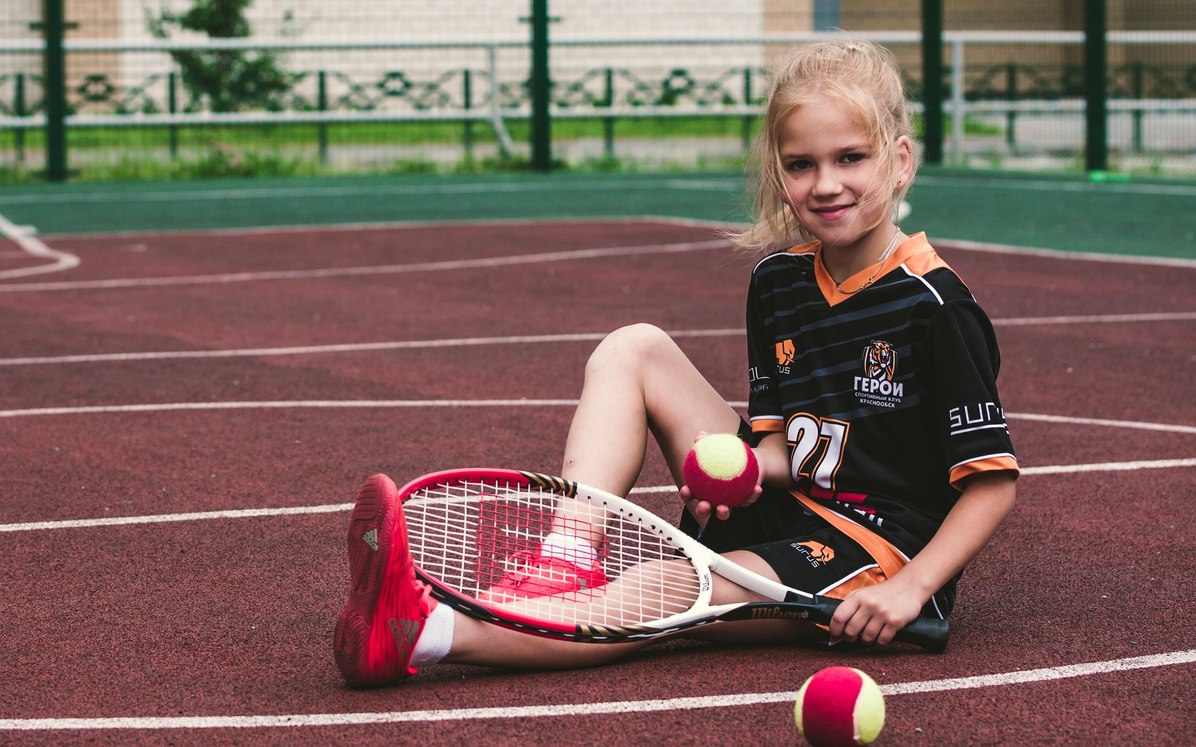 Image Little Girls Smile Child Sport Tennis Sit Ball 3840x2400