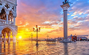 Hintergrundbilder Italien Sonnenaufgänge und Sonnenuntergänge Venedig Straßenlaterne Sonne Städte