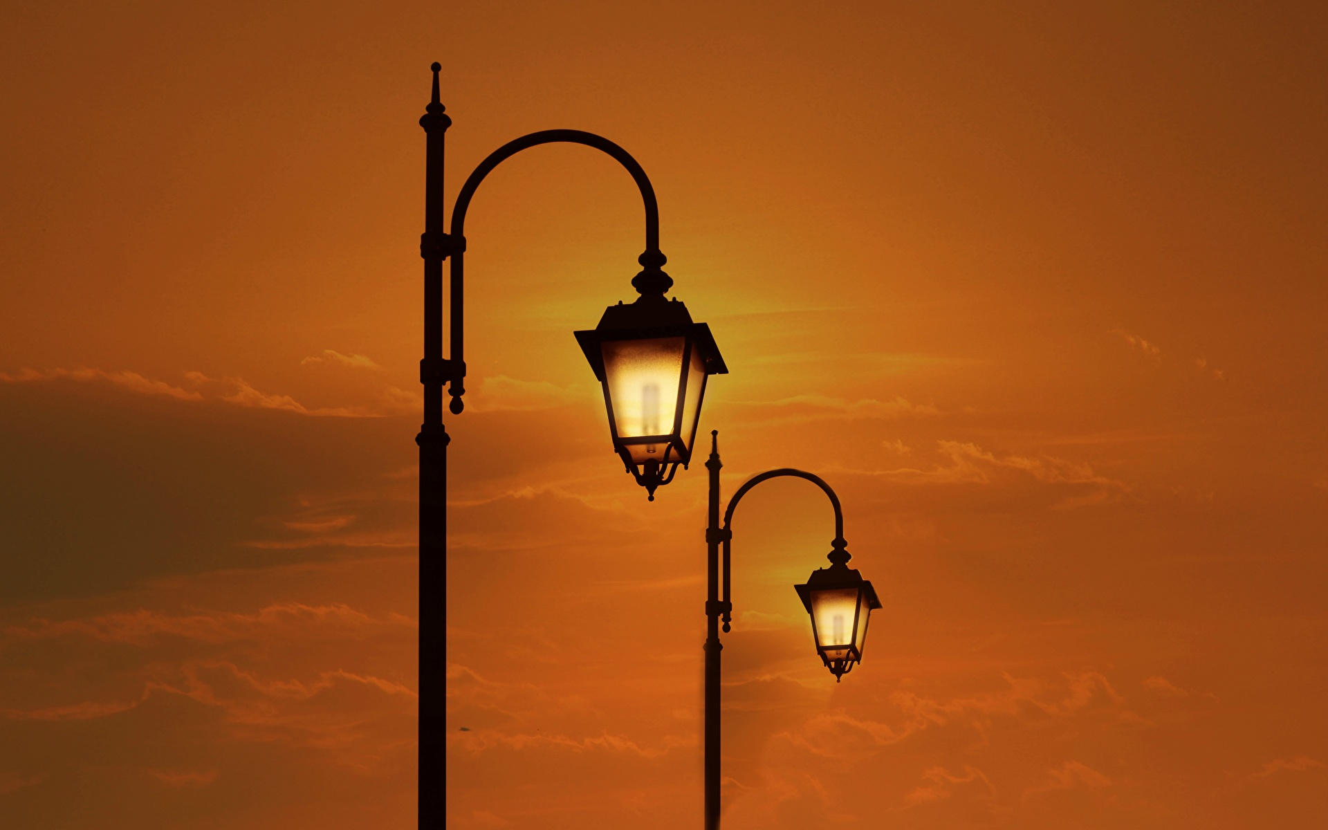 Photos Two Sunrises and sunsets Street lights 1920x1200 2 sunrise and sunset