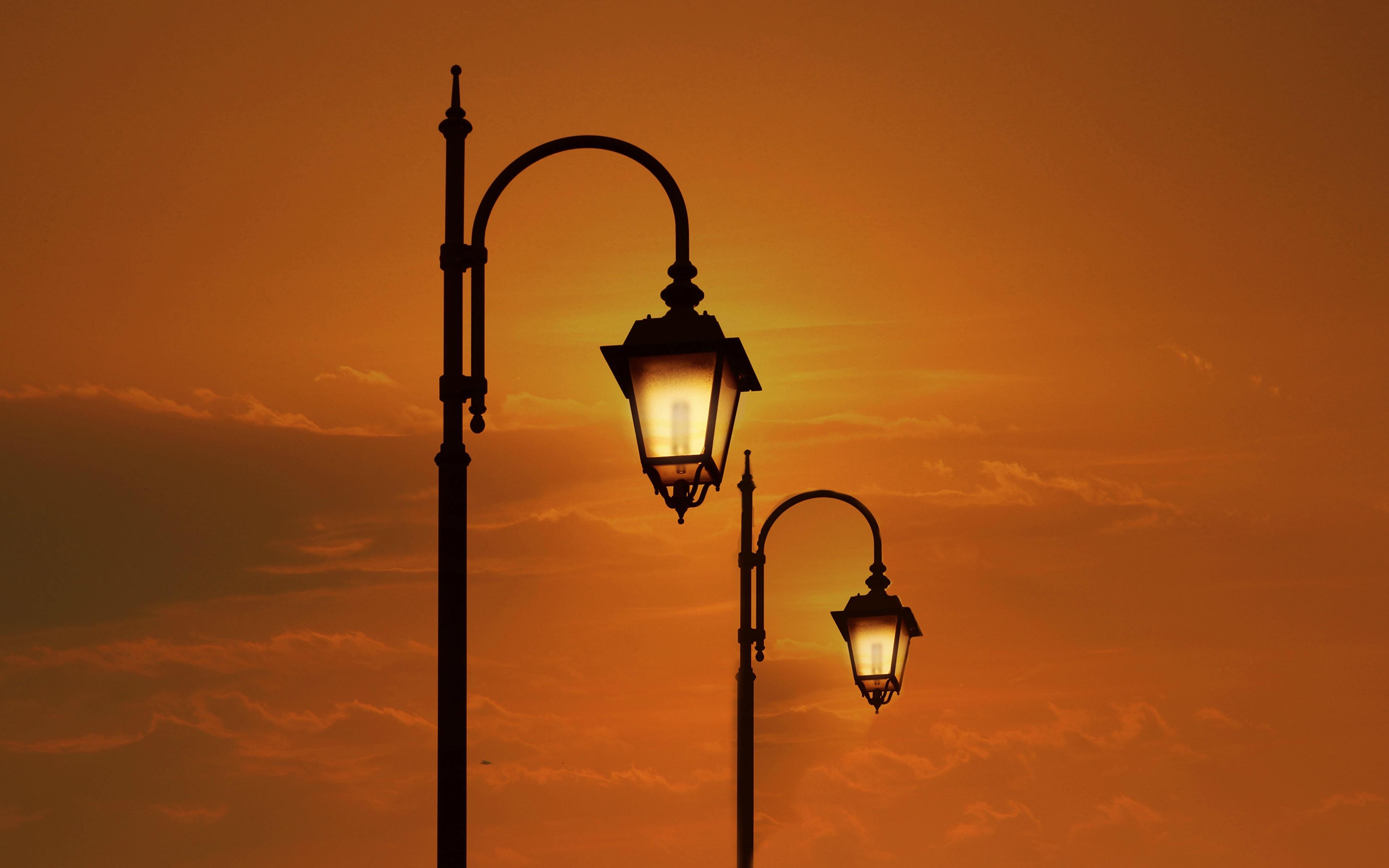 Photos Two Sunrises and sunsets Street lights 3840x2400 2 sunrise and sunset