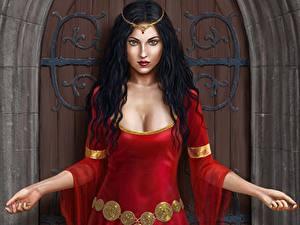 Fonds d'écran Illustrations pour des livres Cheveux noirs Fille Les robes Regard fixé Lady Isadora, Harbinger Chronicles Fantasy Filles