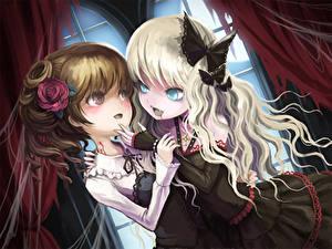 Fonds d'écran Vampires 2 Les robes Blondeur Fille Aux cheveux bruns death-colle, ume (illegal bible), original Anime Filles