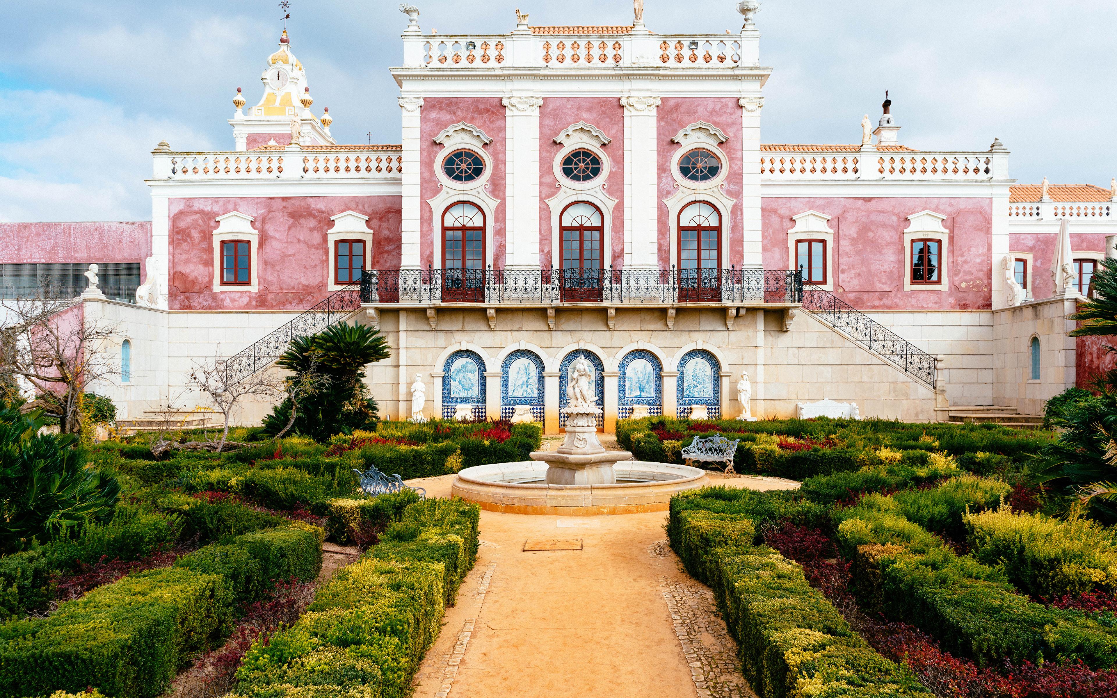 Фотографии дворца Португалия Фонтаны Pousada Palacio De Estoi Faro Сады Кусты город 3840x2400 Дворец кустов Города