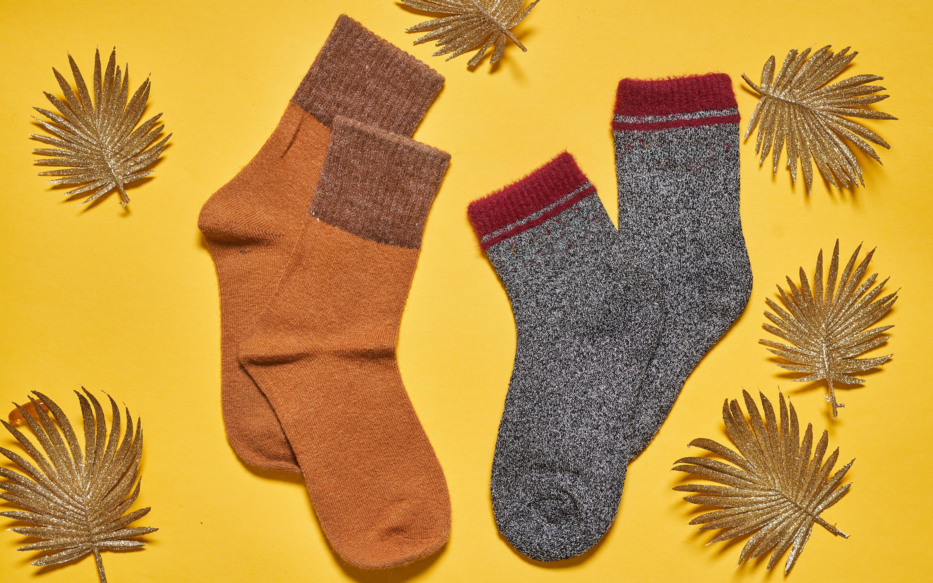 Bilder Blatt Socken Herbst Farbigen hintergrund 3840x2400 Blattwerk