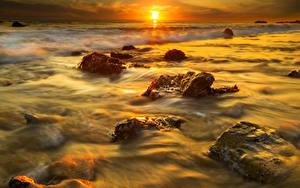 Hintergrundbilder Meer Sonnenaufgänge und Sonnenuntergänge Steine Sonne Natur