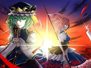 Fonds d'écran Faux Deux Les robes Touhou: A Summer Days Dream, onozuka komachi, shiki eiki Anime Filles