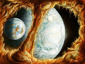 Wallpaper Planet Space Fantasy