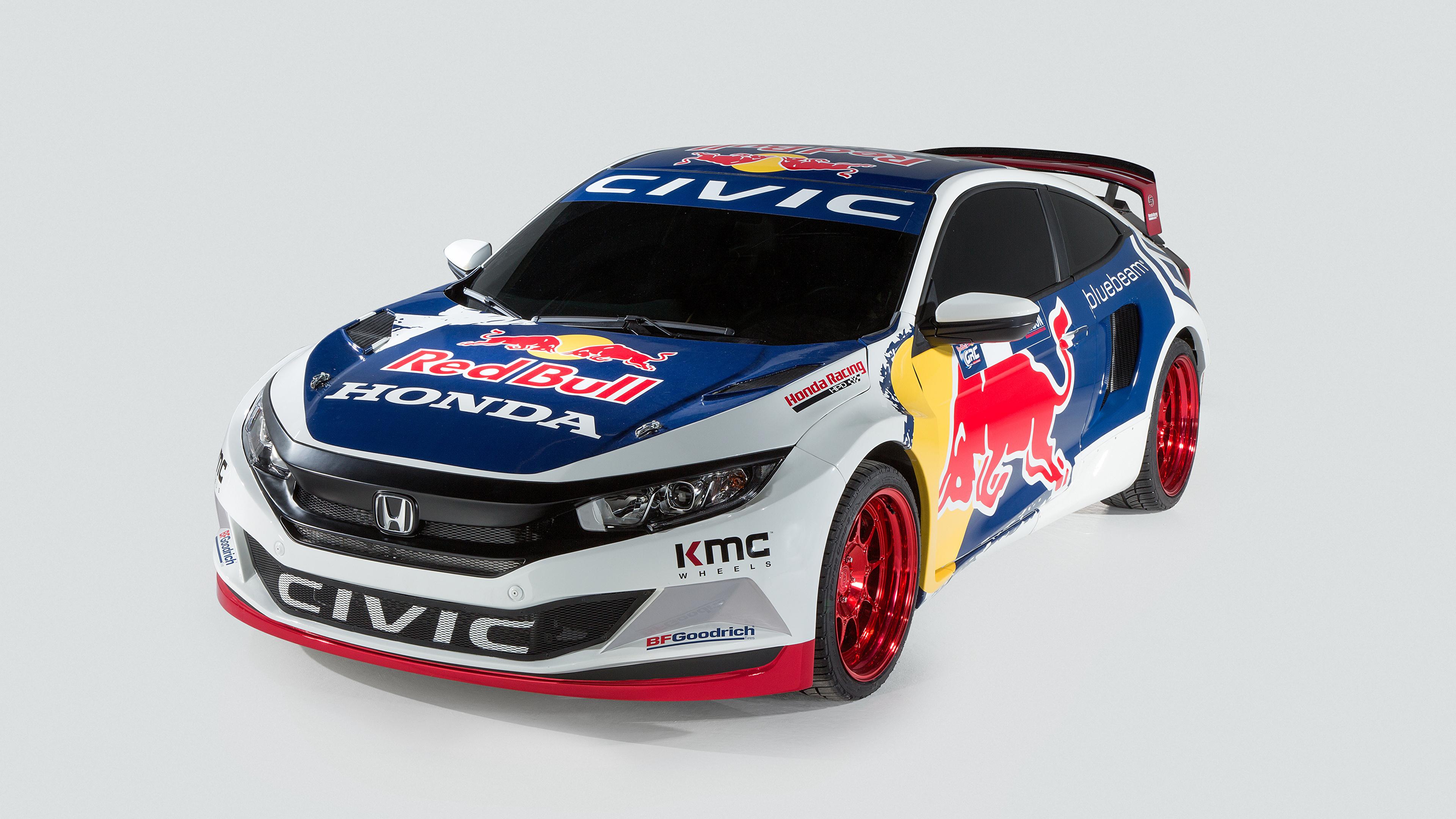 Papeis De Parede 3840x2160 Honda Tuning 2016 Civic Coupe Rallycross Fundo Cinza Rali Carros Baixar Imagens