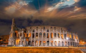 Hintergrundbilder Italien Berühmte Gebäude Ruinen Himmel Kolosseum Rom Bogen architektur