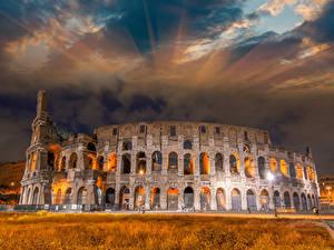 Hintergrundbilder Italien Berühmte Gebäude Ruinen Himmel Kolosseum Rom Bogen architektur Städte