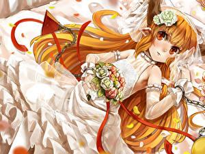 Fonds d'écran Touhou Collection Chaîne Jeune mariée Les robes ibuki suika Anime Filles