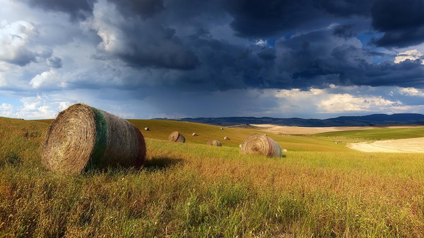Desktop Wallpapers storm cloud Nature Fields Hay Grass Clouds 1366x768 Thundercloud