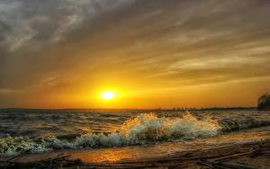 Bilder Küste Wasserwelle Sonnenaufgänge und Sonnenuntergänge Himmel Sonne