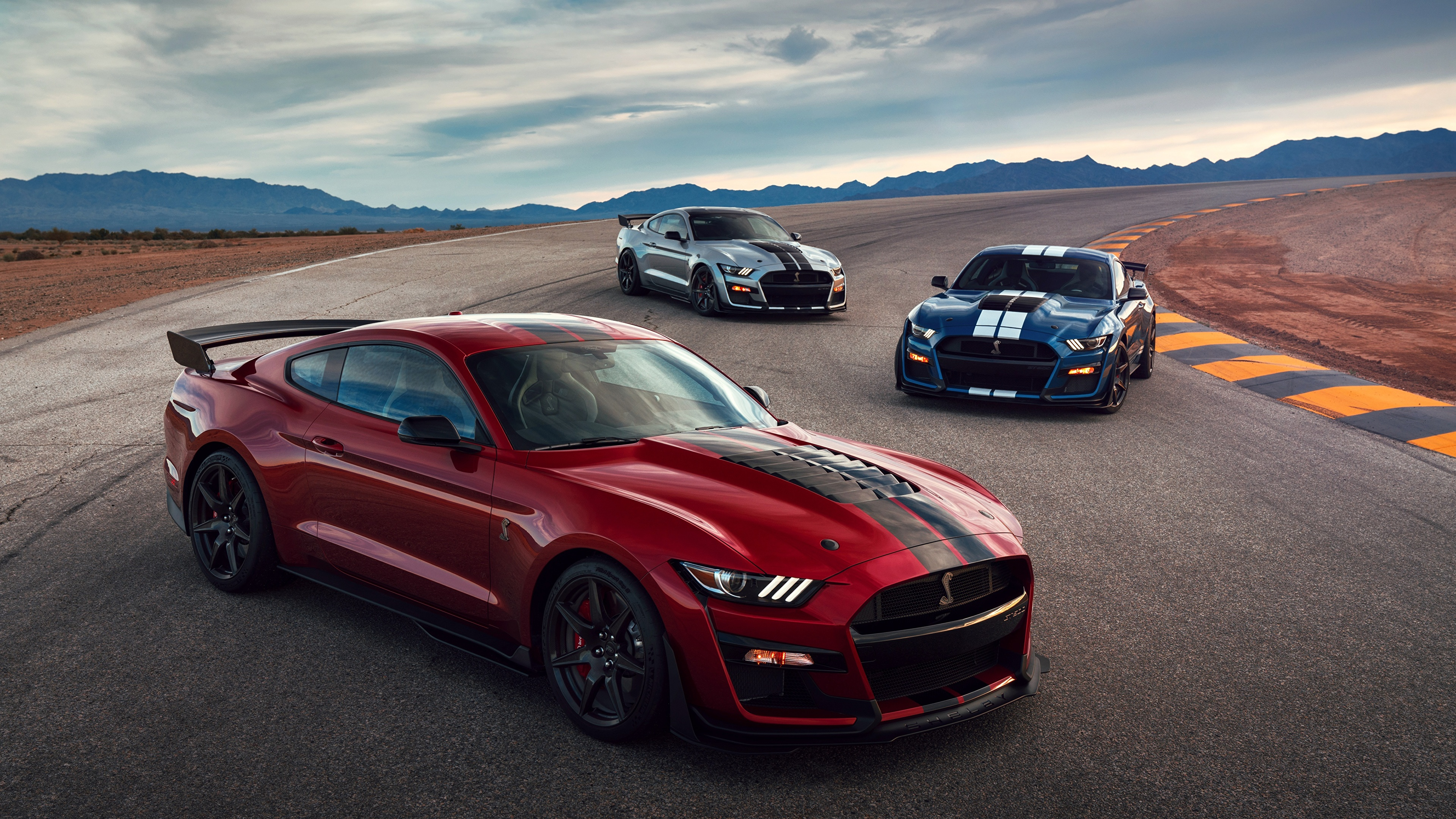 Wallpaper ford mustang shelby gt500 2019 red three 3 3840x2160