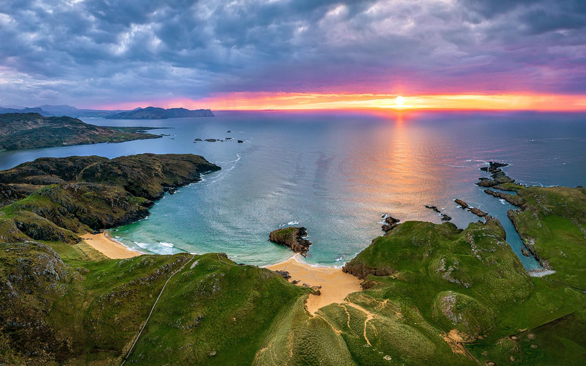 Foto Irland Donegal Natur Morgendämmerung und Sonnenuntergang Küste Wolke 1920x1200 Sonnenaufgänge und Sonnenuntergänge