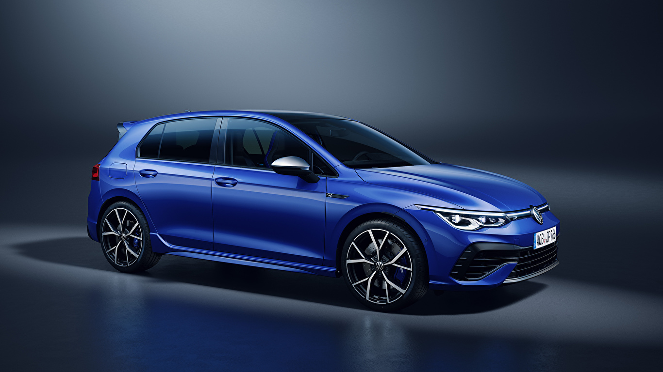Bilder Volkswagen Golf R, 2020 Blau auto Metallisch 1366x768 Autos automobil