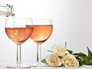 Papéis de parede Feriados Vinho espumante Rosas Copo de vinho Alimentos Flores