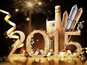 Papéis de parede Feriados Ano-Novo Fogos de artifício Vinho espumante 2015 Garrafa