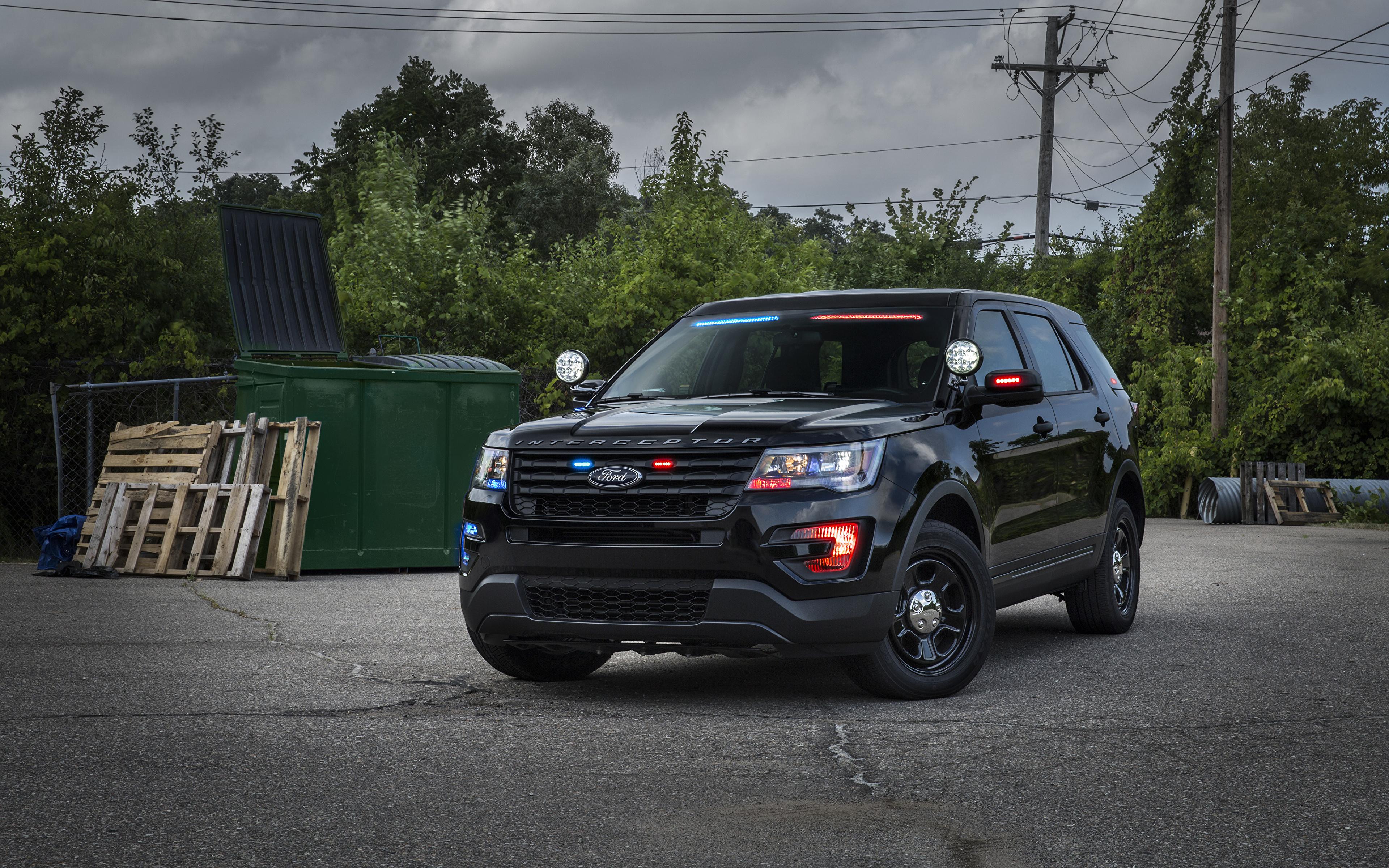 Photos Ford Police Explorer Black Auto 3840x2400
