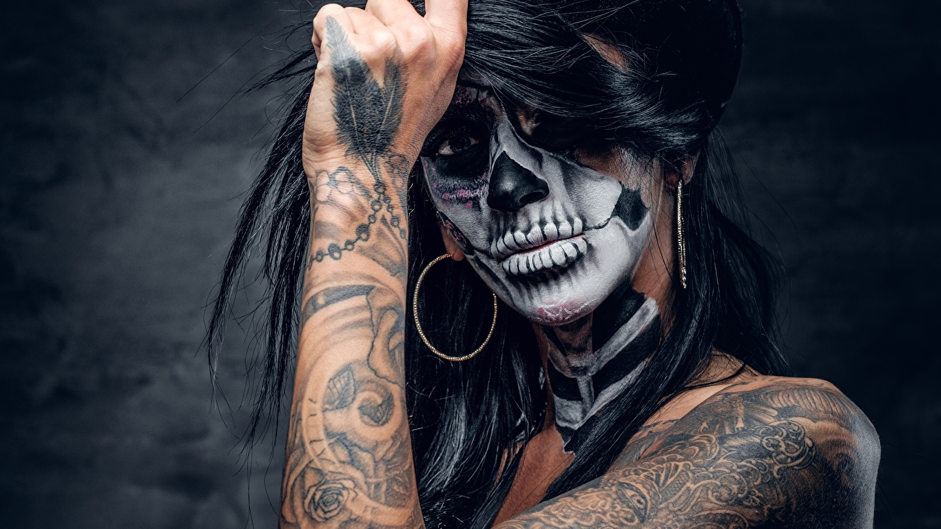 Photos Tattoos Makeup Day Of The Dead Girls Hands Holidays