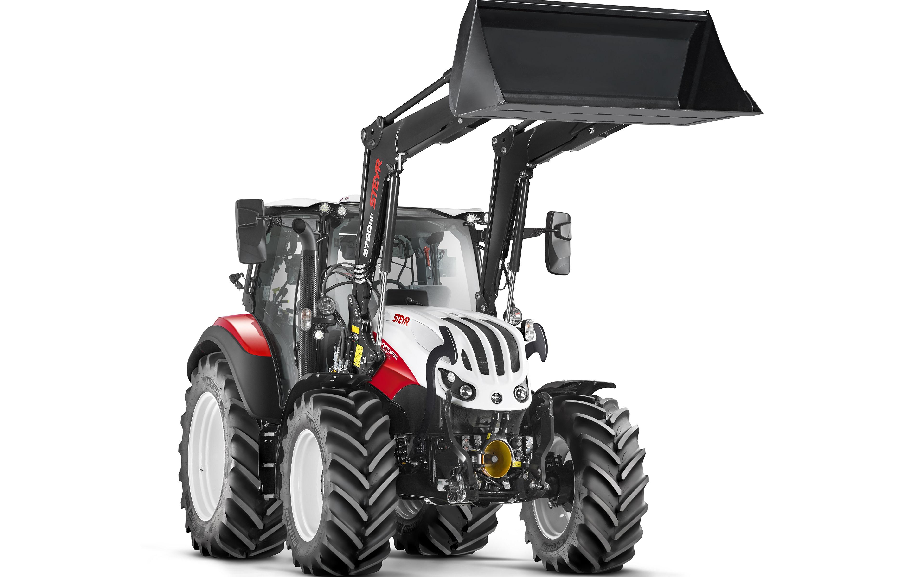 Desktop Hintergrundbilder Traktor Radlader Steyr 4130 Expert CVT, 2019 Weißer hintergrund 3840x2400 traktoren