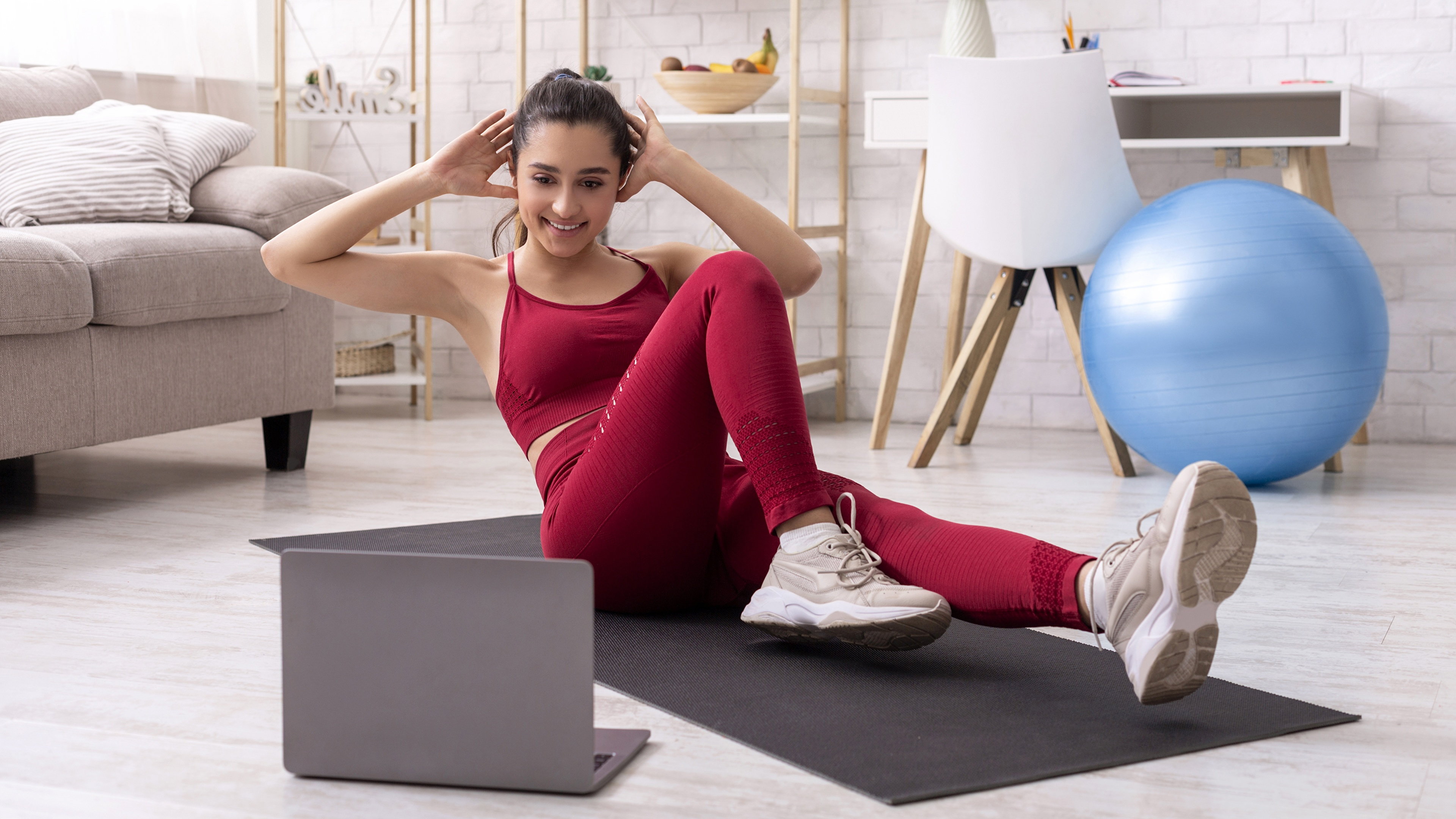 Image Laptops Physical exercise Smile Fitness athletic young woman Legs 3840x2160 Workout Girls Sport female sports