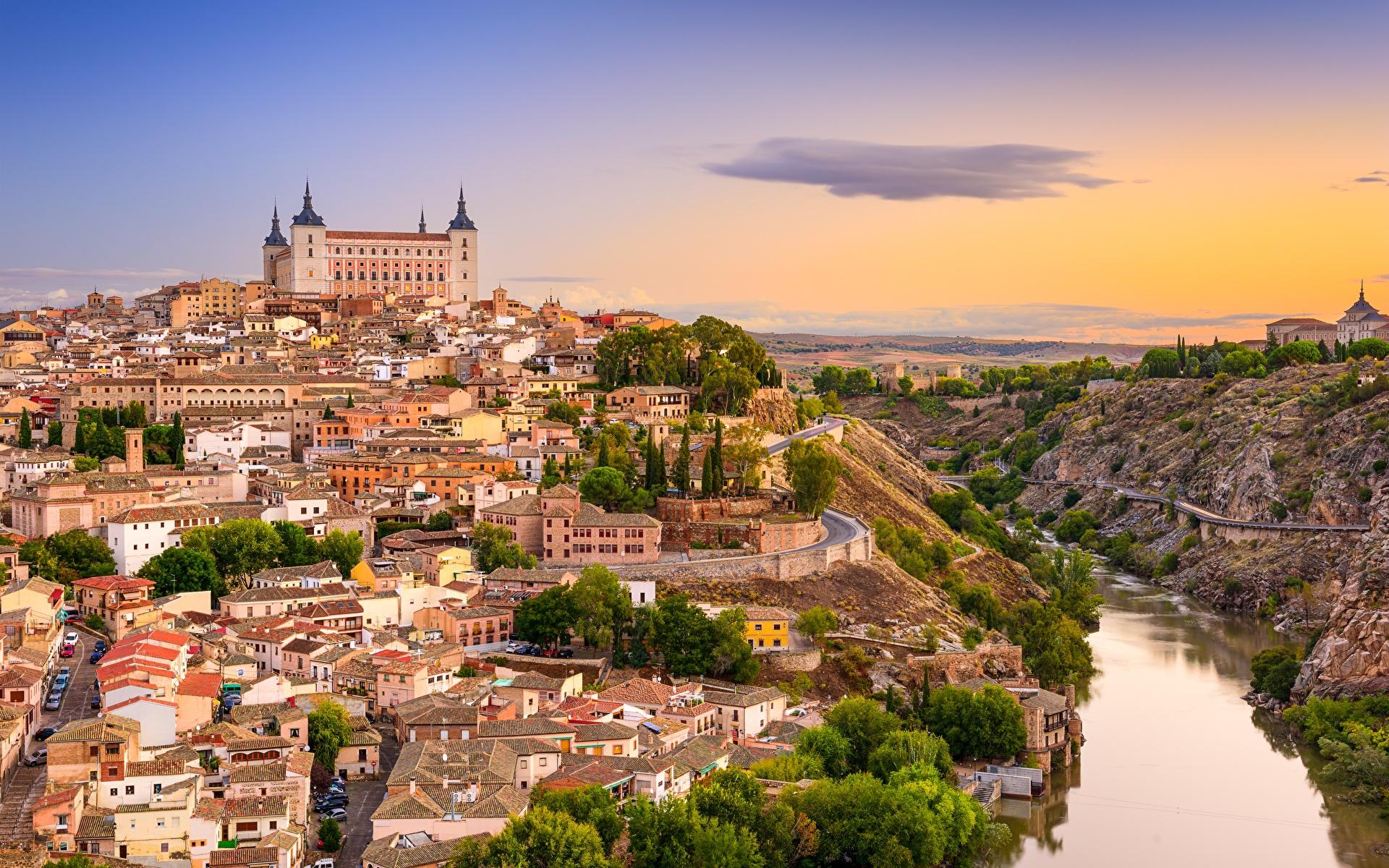 Wallpaper Toledo Spain Castile-La Mancha, Tagus river castle sunrise and sunset Rivers Cities 1920x1200 Castles Sunrises and sunsets