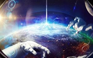 Wallpaper Cosmonaut Earth Hands Space Fantasy