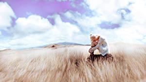 Hintergrundbilder Felder Wolke Gras Blondine Sitzend Natur Mädchens