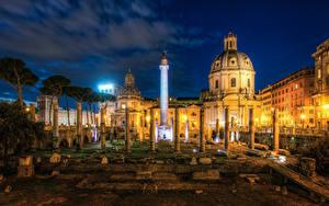 Hintergrundbilder Italien Ruinen Berühmte Gebäude Rom Nacht Trajans Forum