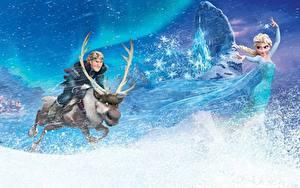 Bilder Die Eiskönigin – Völlig unverfroren Disney Hirsche Schneeflocken Blondine Horn Elsa, Kristoff, Sven Zeichentrickfilm Mädchens