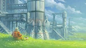 Picture Painting Art Fantastic world Technics Fantasy Astronaut Grass Fantasy