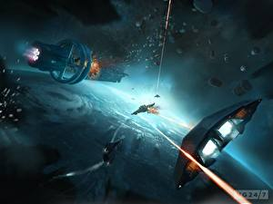 Pictures Fighting Explosions Technics Fantasy Ships Elite: Dangerous vdeo game Fantasy Space