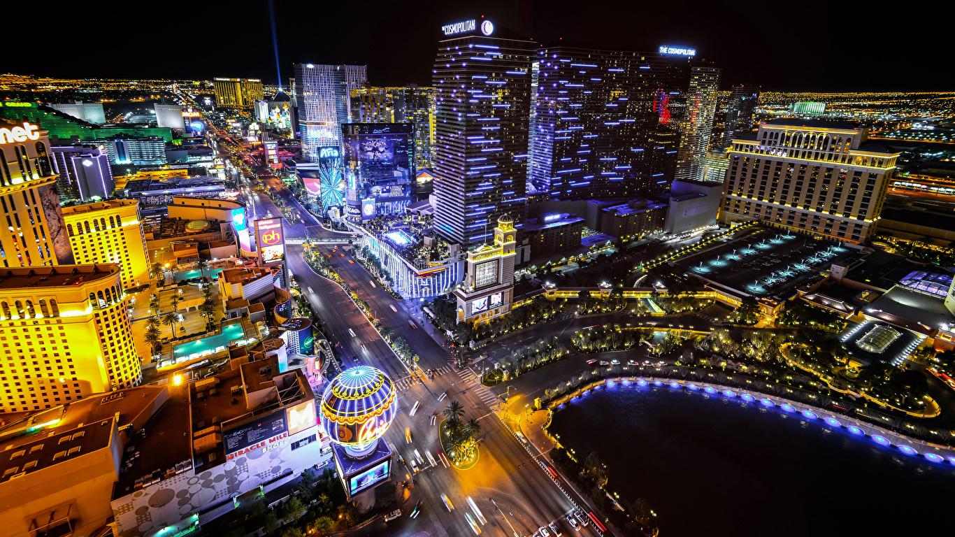 Image Las Vegas Usa Megapolis Roads Street From Above Night 1366x768