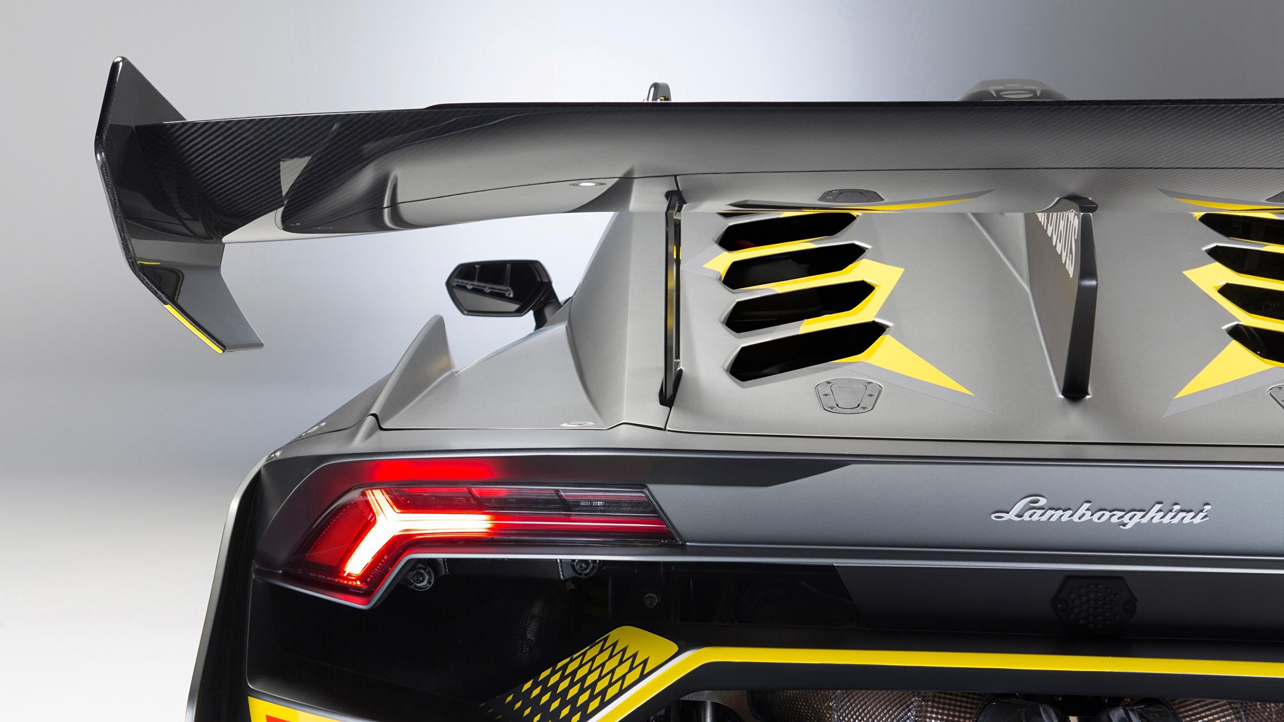 Picture Lamborghini Huracan Super Trofeo Evo Back view Headlights automobile Closeup 2560x1440 Cars auto