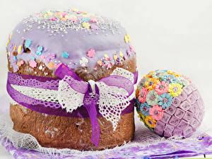Bilder Feiertage Ostern Backware Kulitsch Zuckerguss Ei Schleife