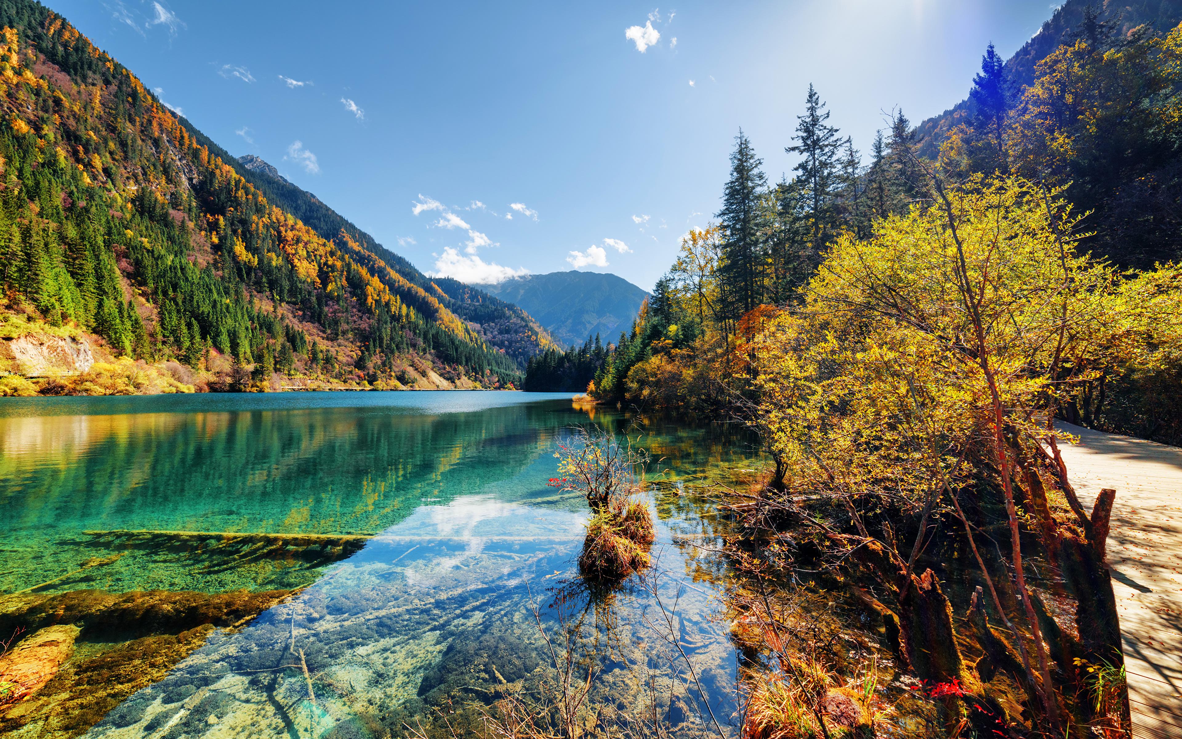 壁紙 3840x2400 九寨溝 中華人民共和国 公園 湖 山 秋 風景