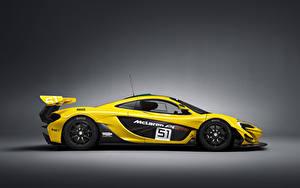 Bakgrundsbilder på skrivbordet McLaren Tuning Gul Sidovy 2015 P1 GTR bil