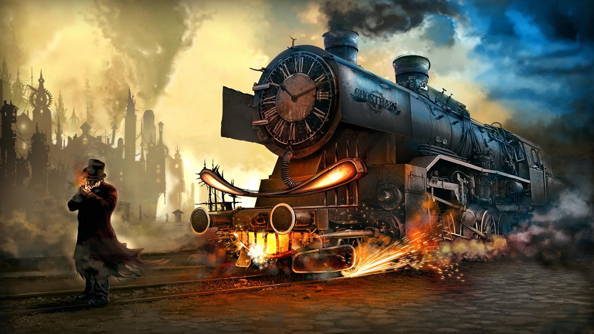 Картинка Стимпанк Мужчины Фэнтези Поезда 2048x1152 паропанк мужчина Фантастика
