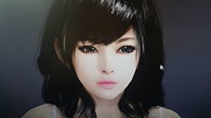 Hintergrundbilder Schwarze Wüste Online Gesicht Starren Brünette Haar computerspiel Mädchens 3D-Grafik