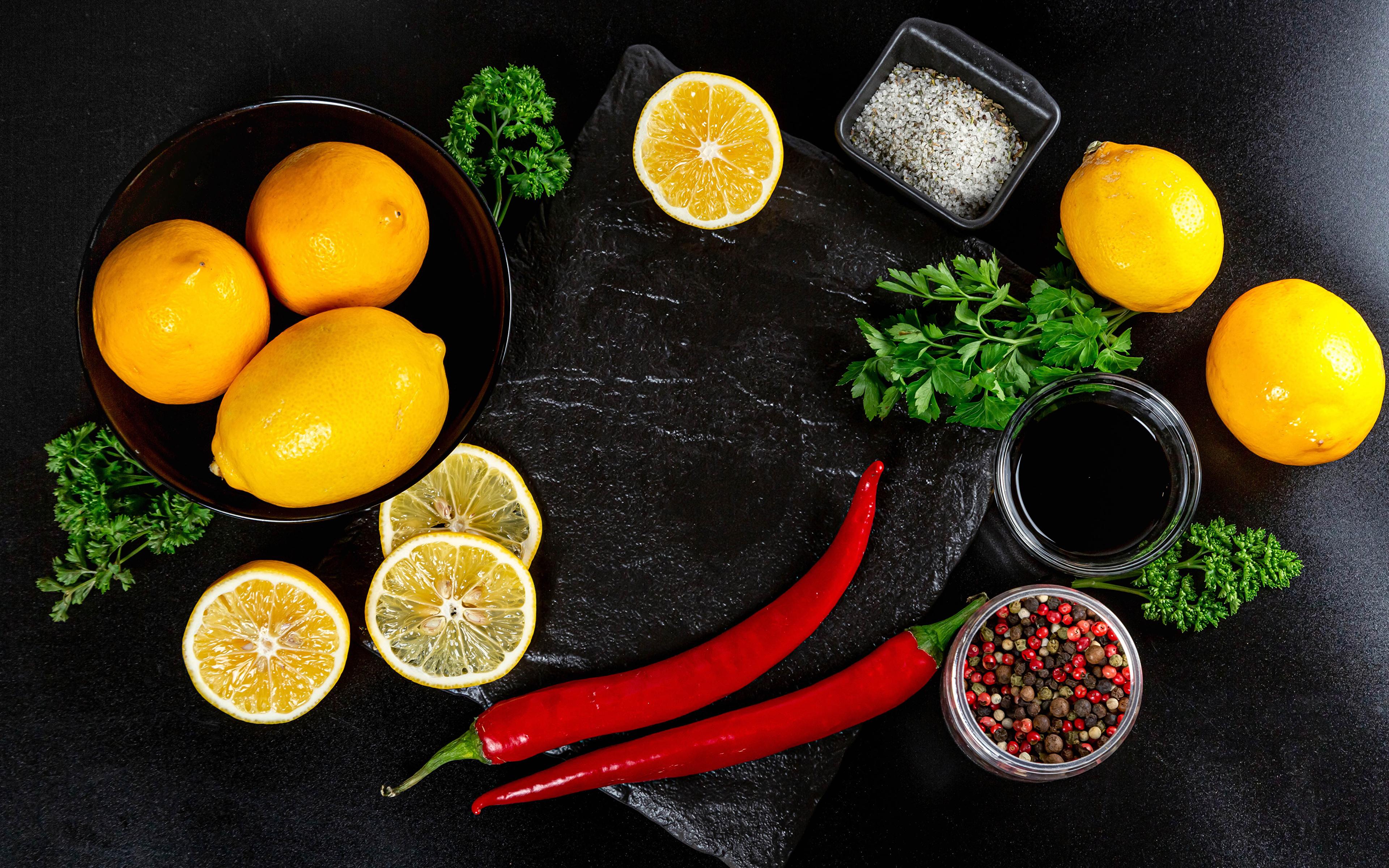 Image Orange fruit Chili pepper Black pepper Salt Lemons Food Vegetables 3840x2400